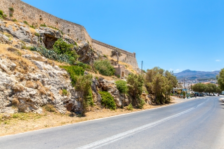 rethymno: Road around fortress in Rethymno, Crete, Greece.