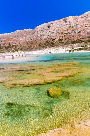 Balos beach  View from Gramvousa Island, Crete in Greece Magical turquoise waters, lagoons, beaches of pure white sand  photo