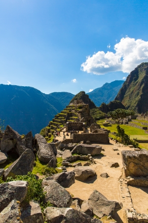 artifact: Mysterious city - Machu Picchu, Peru,South America. The Incan ruins and terrace. Example of  polygonal masonry and skill Stock Photo