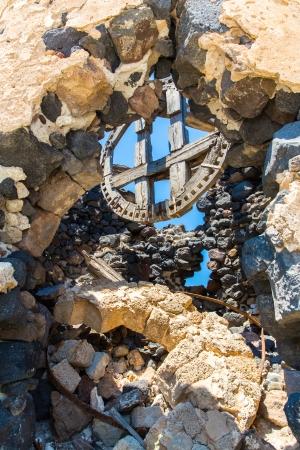 fira: Ancient windmills of Santorini island,Crete,Greece. View of Fira town Stock Photo