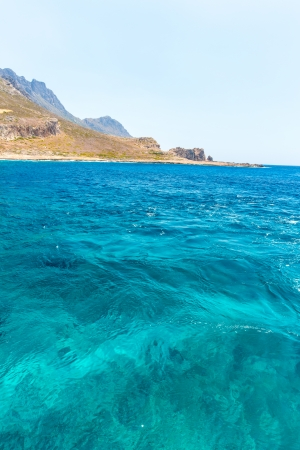 Balos beach. View from Gramvousa Island, Crete in Greece.Magical turquoise waters, lagoons, beaches of pure white sand. photo
