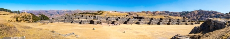 peru architecture: Panorama of Inca Wall in SAQSAYWAMAN, Peru, South America. Example of polygonal masonry. The famous 32 angles stone in ancient Inca architecture.