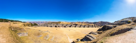 inca architecture: Panorama of Inca Wall in SAQSAYWAMAN, Peru, South America. Example of polygonal masonry. The famous 32 angles stone in ancient Inca architecture.