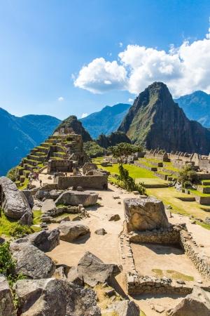 incan: Citt� Mysterious - Machu Picchu, Per�, Sud America Le rovine inca e terrazza Esempio di muratura poligonale e abilit� Archivio Fotografico