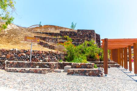 Santorini island,Crete,Greece. Ruins and archaeological site in Fira town photo