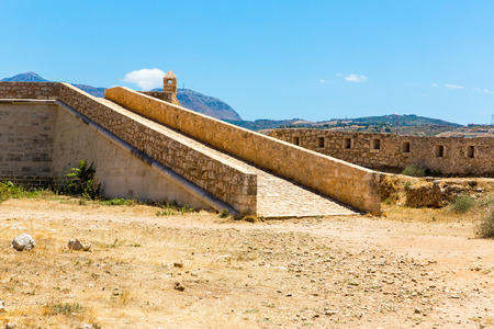 rethymno: Ruins of old town in Rethymno, Crete, Greece. It largest castle in central Europe Stock Photo