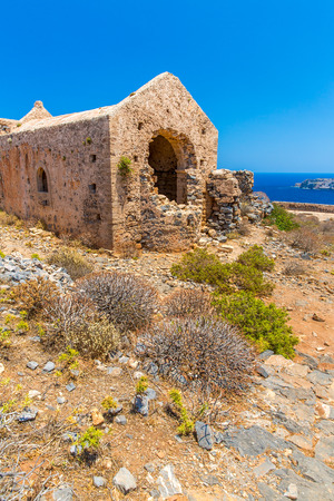 Gramvousa island in Crete, Greece with remains of Venetian fort and magical turquoise waters, lagoons, beaches  photo