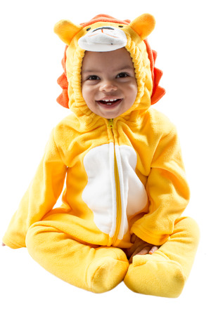 Black child boy,dressed in lion carnival suit, isolated on white background  Baby zodiac - sign Leo  The concept of childhood and holiday photo