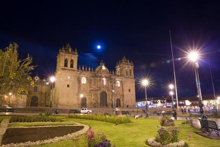 plaza de armas: Cusco, Peru, South America, Cathedral of Santo Domingo. Night Views on main square, Plaza de Armas de Cusco