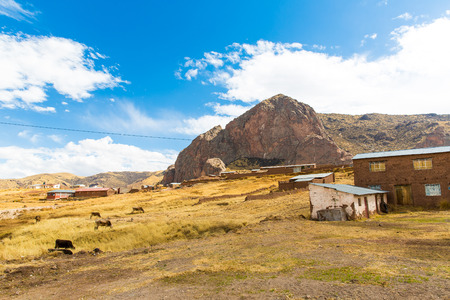 sacred valley of the incas: The Andes, Road Cusco- Puno, Peru,South America  4910 m above  The longest continental mountain range in the world, many active volcanoes  Sacred Valley of the Incas  Spectacular  nature of snow mountains and blue sky