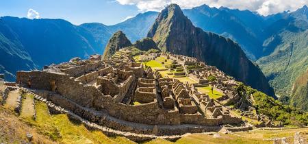 Panorama of Mysterious city - Machu Picchu, Peru,South America  The Incan ruins  Example of polygonal masonry and skill