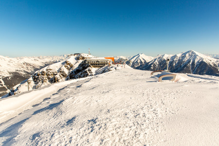 Ski resort Bad Gastein in winter snowy mountains, Austria, Land Salzburg,  Austrian alps - nature and sport background