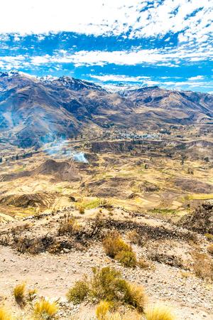 Cañón Del Colca Perú América Del Sur Incas Para Construir Terrazas De Cultivo Con Estanque Y Cliff Uno De Los Cañones Más Profundos Del Mundo
