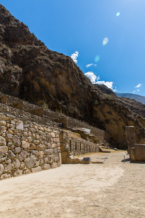 conquered: Ollantaytambo, Peru, Inca ruins  and archaeological site in Urubamba, South America   It was royal estate of Emperor who conquered during Inca Empire  Stock Photo