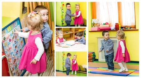 Two kids in Montessori preschool Class. Little girl and boy playing in kindergarten photo