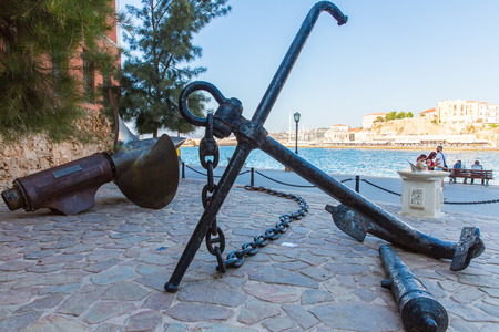 greece granite: Armature and anchor Greece, Chania, Crete.Traditional pictorial street - vintage artistic series