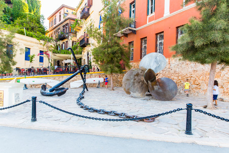 pictorial: Armature and anchor Greece, Chania, Crete.Traditional pictorial street - vintage artistic series