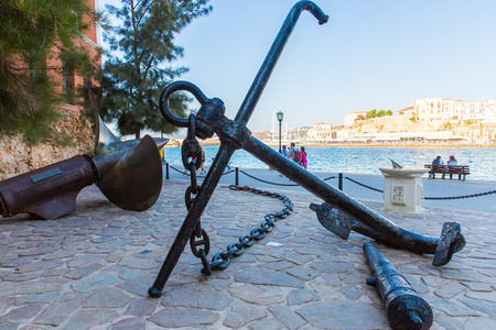 Armature and anchor Greece, Chania, Crete.Traditional pictorial street - vintage artistic series photo