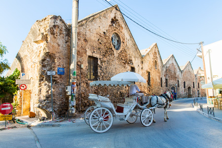 brougham: Traditional venetian brougham and horse at Greece, Chania, Crete Stock Photo