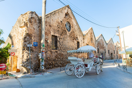 brougham: Traditional venetian brougham and horse at Greece, Chania, Crete Editorial
