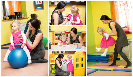 Mother and child girl playing in kindergarten in Montessori preschool Class  photo