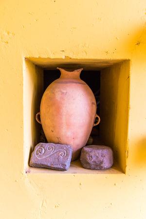 pre columbian: Peru. Pre Columbian Vase. Ancient Aztec and Maya  stone  sculptures. South America