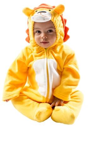 Black child boy,dressed in lion carnival suit