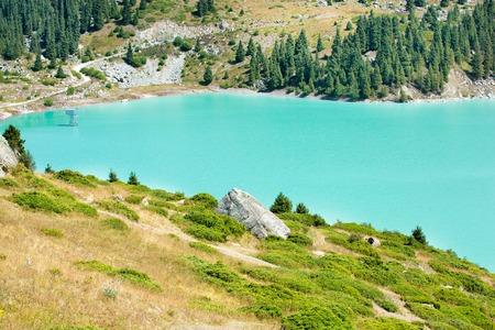 Spectacular scenic Big Almaty Lake  Stock Photo