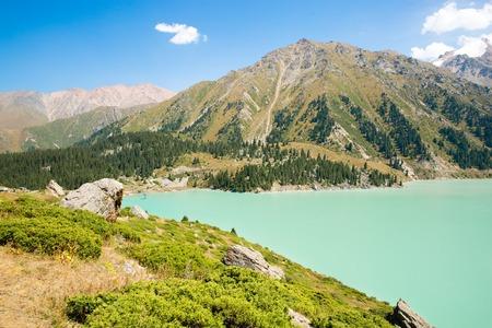 alma: Spectacular scenic Big Almaty Lake of Tien Shan Mountains in Almaty, Kazakhstan