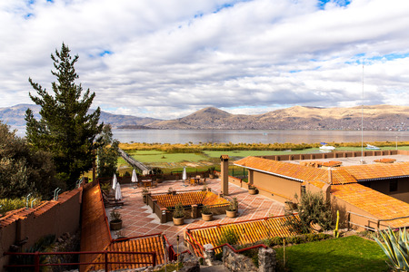 upscale: Upscale hotel and Inviting Courtyard and garden on lake Titikaka, Peru in South America
