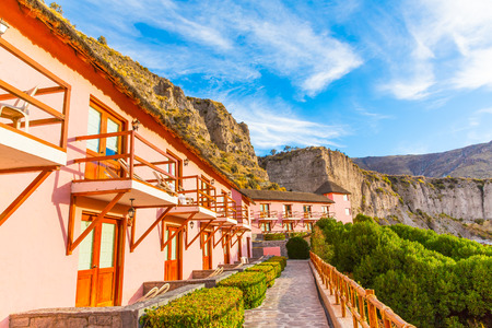 upscale: Upscale hotel and Inviting Courtyard and garden in Colca Canyon, Peru in South America Editorial