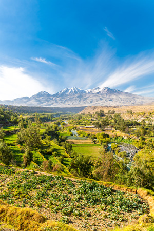 nevado: View of the Misty Volcano in Arequipa, Peru, South America