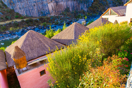 upscale: Upscale hotel and Inviting Courtyard and garden in Colca Canyon, Peru in South America Stock Photo