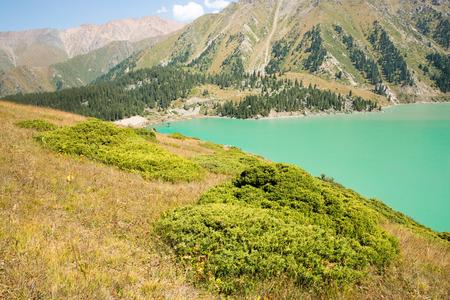 alma: Spectacular scenic Big Almaty Lake ,Tien Shan Mountains in Almaty, Kazakhstan,Asia at summer