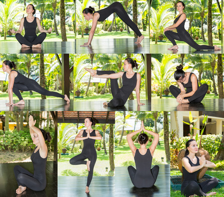 contortionist: Collage of young woman is practicing yoga and pilates on nature. Morning meditation at summer