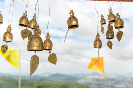 Tradition asian bells in Buddhism temple in Phuket island,Thailand. Famous Big Buddha wish bells Stock Photo
