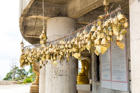 disclose: Tradition asian bells in Buddhism temple in Phuket island,Thailand. Famous Big Buddha wish bells Stock Photo