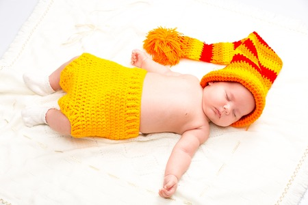 206d89d340bd0 A cute newborn baby girl sleeping. Sweet little baby portrait. Use the  photo to