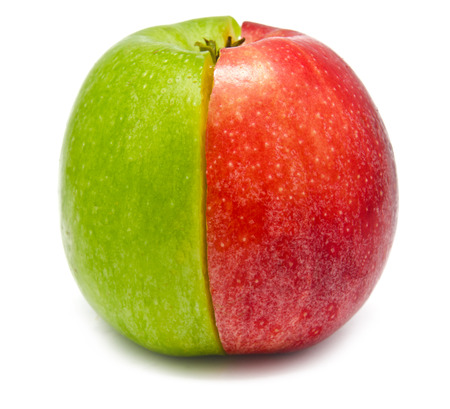 two and a half: The creative apple combined from two half of red and green color isolated