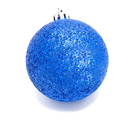 blue ball: Perfec blue christmas ball isolated on a white background Stock Photo
