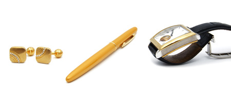 close up of the mens accessories: watch, pen, cuff links, watch isolated Stock Photo