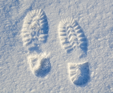 foot steps: foot steps on snow ground on the first snowy day