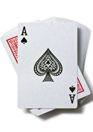playing with money: Ace of spades is on the deck of cards