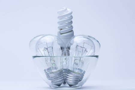 energy saving light with incandescent lamps on white photo