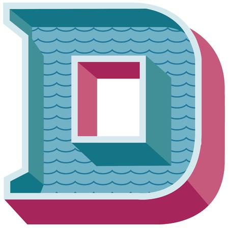 d: vintage illustration alphabet D. isolated on white.