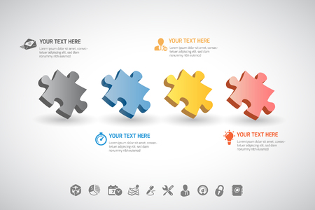 step up: Infographics jigsaw puzzle Vector illustration. can be used for workflow layout, banner, diagram, number options, step up options, web design.