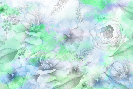 Water color flower background Stock Photo