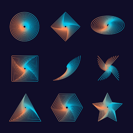 Set of spirals, isolated vector graphic - Vector