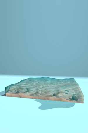 The bottom of the ocean in the form of an aquarium without walls. 3D rendering
