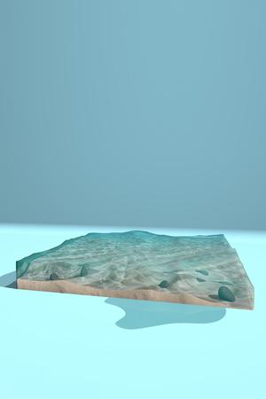 The bottom of the ocean. 3D rendering Stock Photo